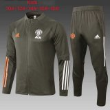 Kids Manchester United Jacket + Pants Training Suit Olive Green 2020/21