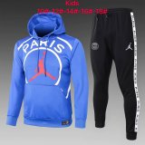 Kids PSG JORDAN Hoodie Sweatshirt + Pants Suit Big Logo Blue 2020/21