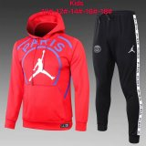 Kids PSG JORDAN Hoodie Sweatshirt + Pants Suit Big Logo Red 2020/21