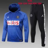Kids PSG JORDAN Hoodie Sweatshirt + Pants Suit Blue 2020/21