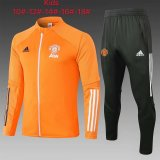 Kids Manchester United Jacket + Pants Training Suit Orange 2020/21