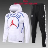 Kids PSG JORDAN Hoodie Sweatshirt + Pants Suit Big Logo White 2020/21