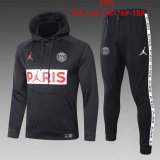 Kids PSG JORDAN Hoodie Sweatshirt + Pants Suit Black 2020/21