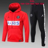 Kids PSG JORDAN Hoodie Sweatshirt + Pants Suit Red 2020/21