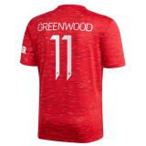 GREEN WOOD #11 Manchester United Home Football Shirt 2020/21 (UCL Font)