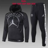 Kids PSG JORDAN Hoodie Sweatshirt + Pants Suit Big Logo Black 2020/21